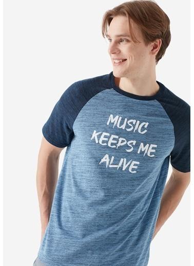 Mavi Music Baskılı Tişört Mavi